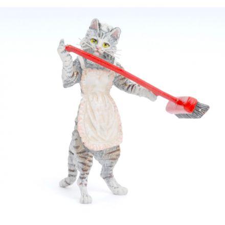 Katze Stubenmädchen/Besen