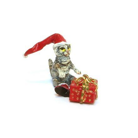 Katze/Weihnachtsmütze mit Paket