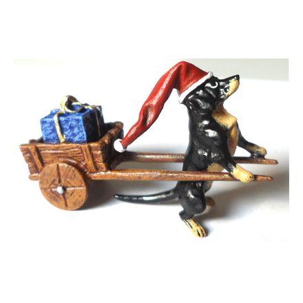 Weihnachtsdackel mit Wagen und Paket