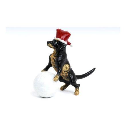Dackel Weihnachtsmütze mit Schneeball