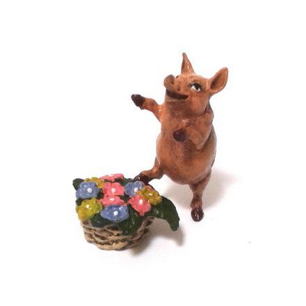 Schwein Blumenkorb