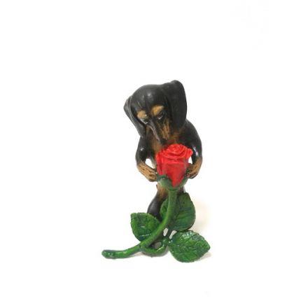 Dackel mit Rose