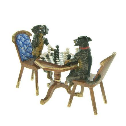 2 Dackel Schachspieler