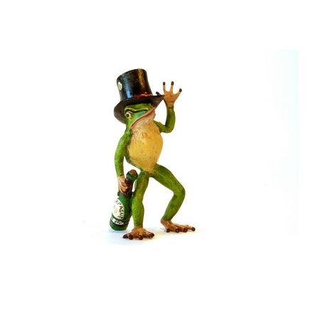 Frosch mit Flasche u. Zylinder