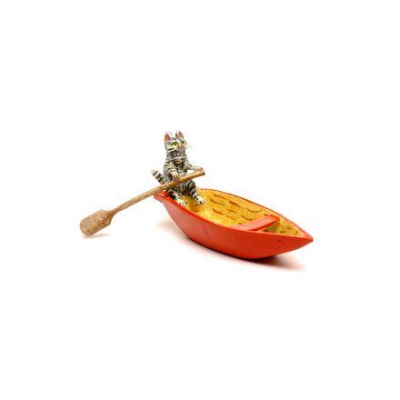 Katze Ruderboot