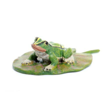 Frosch auf Blatt/sitzend